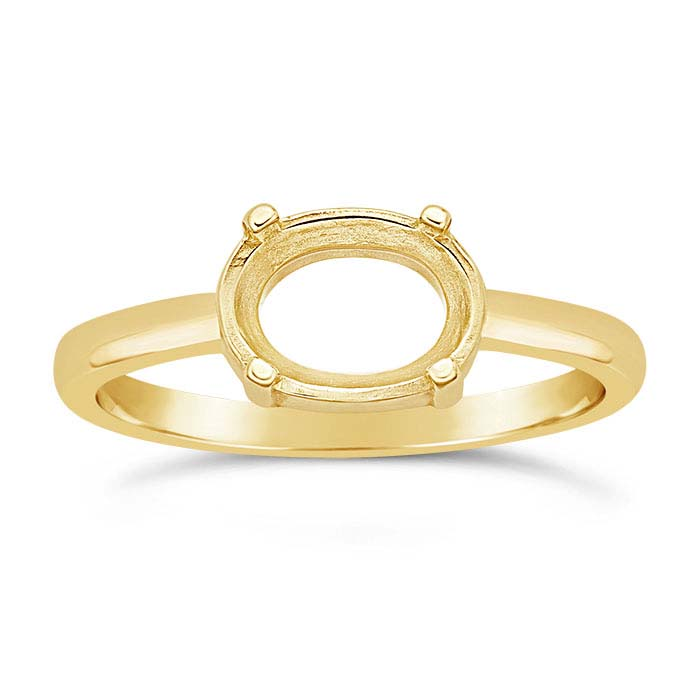 14K Yellow Gold Oval Ring Mountings
