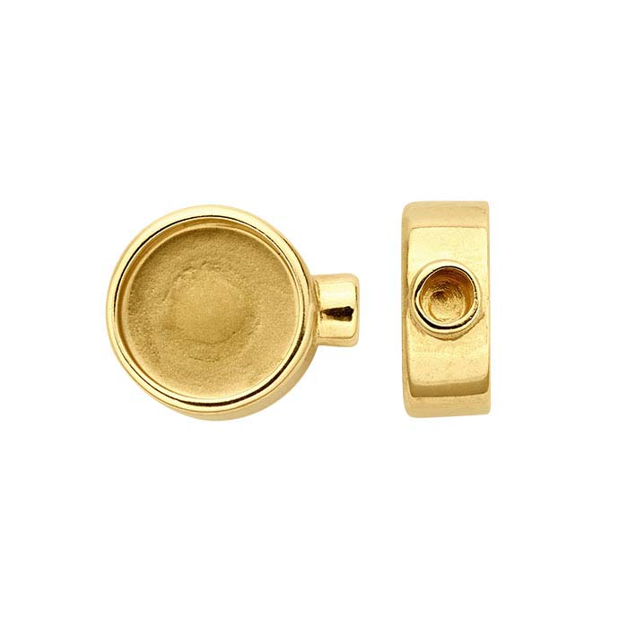14K Yellow Gold Round Cabochon End Cap Mountings for Flex Tube Bracelet
