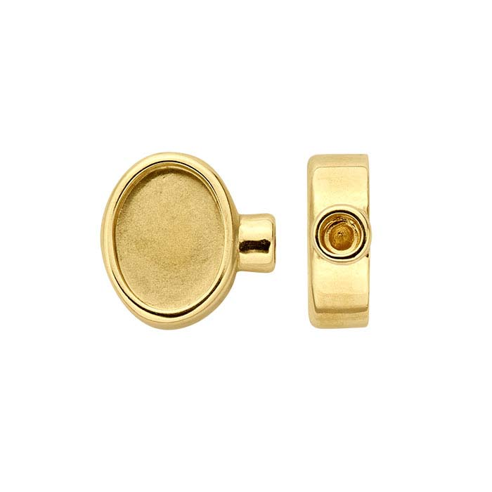 14K Yellow Gold Oval Cabochon End Cap Mountings for Flex Tube Bracelet