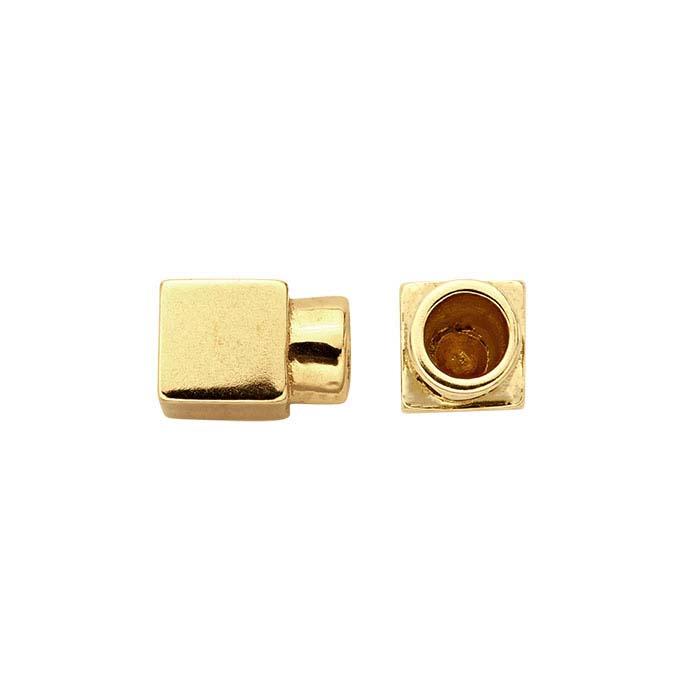 14K Yellow Gold 4mm Cube End Cap for Flex Tube Bracelet