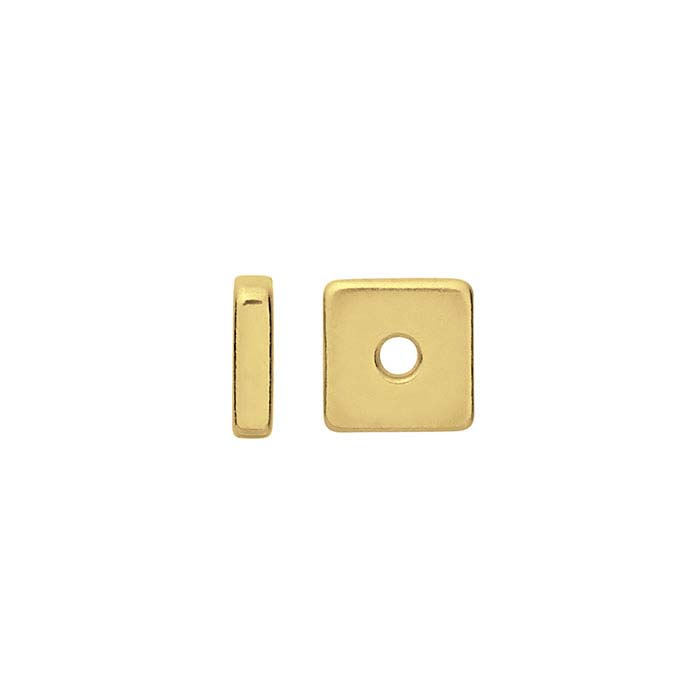 14K Yellow Gold 4mm Square Spacer Bead