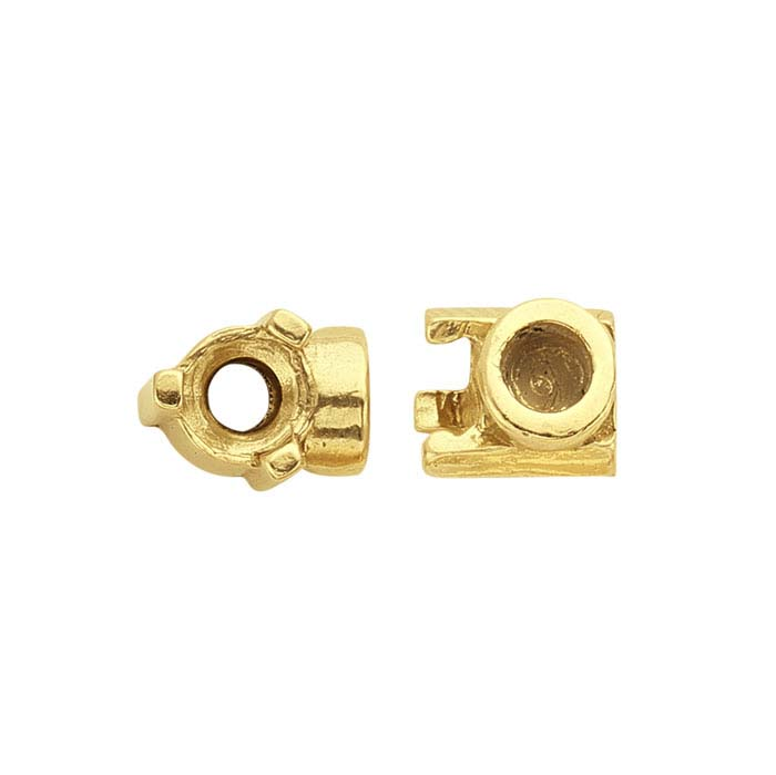 14K Yellow Gold 3mm Round End Cap Mounting for Flex Tube Bracelet