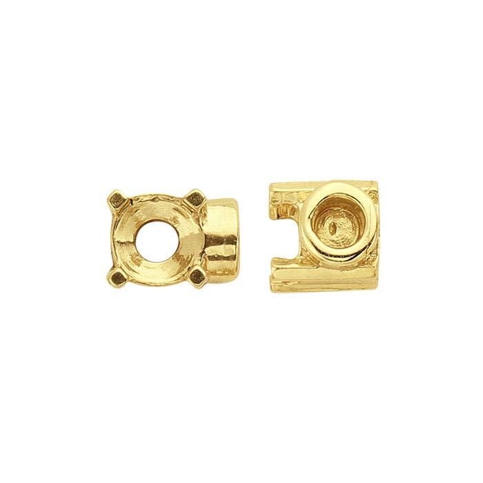 14K Yellow Gold 4mm Round End Cap Mounting for Flex Tube Bracelet