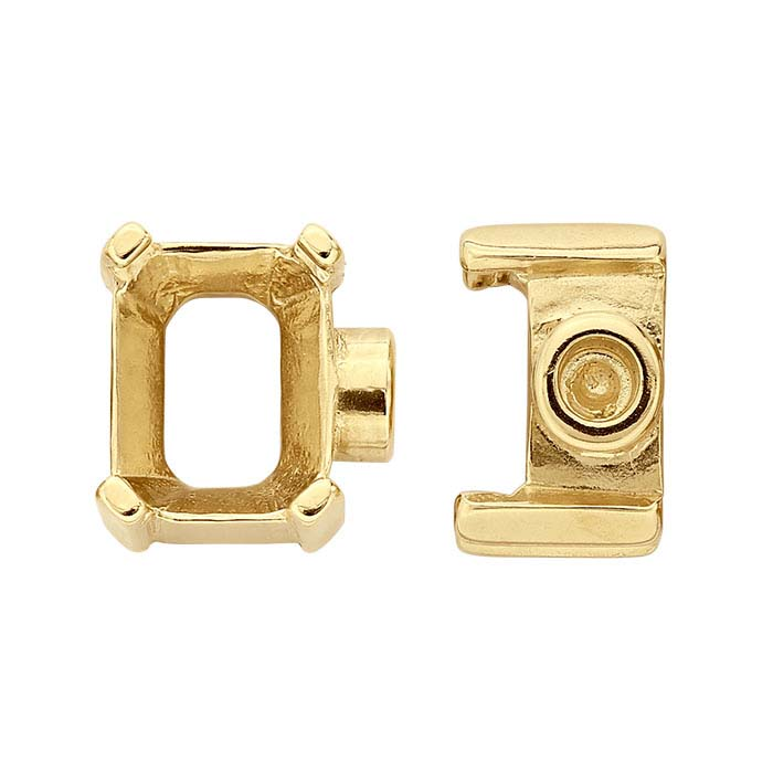 14K Yellow Gold 8 x 6mm Octagon End Cap Mounting for Flex Tube Bracelet