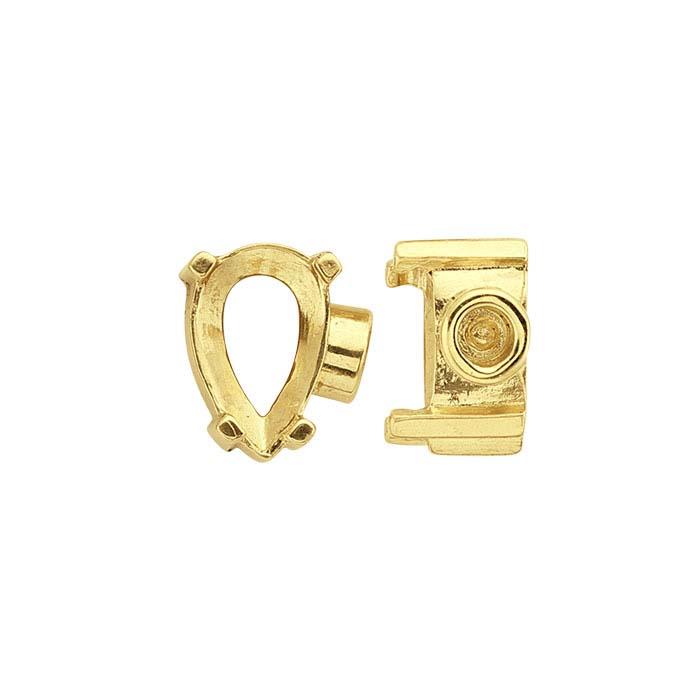 14K Yellow Gold Pear End Cap Mountings for Flex Tube Bracelet