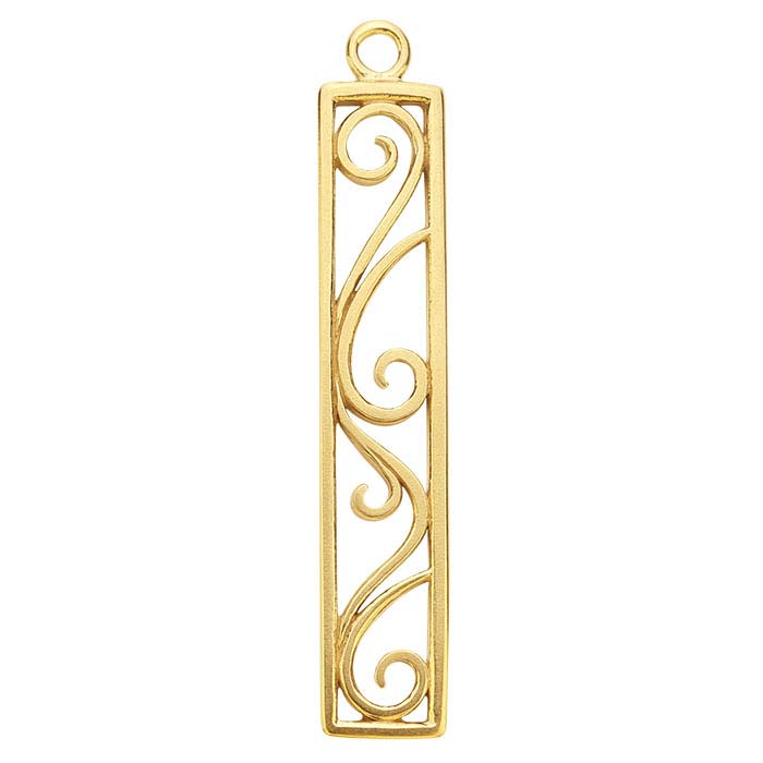 14K Yellow Gold Rectangle Filigree Component