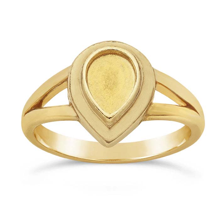 14K Yellow Gold Pear Cabochon Ring Mountings