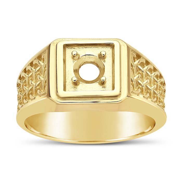 14K Yellow Gold Woven 5mm Round Ring Mounting
