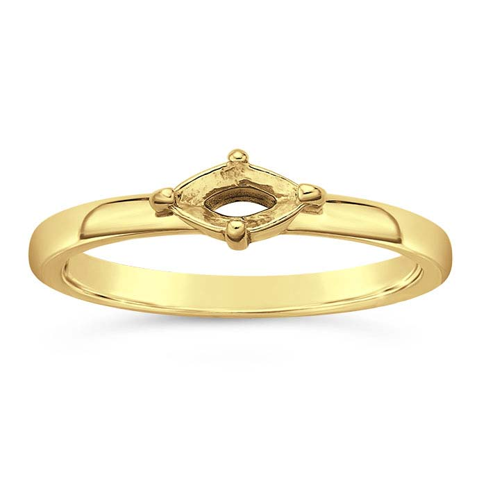 14K Yellow Gold 6 x 3mm Marquise Ring Mountings