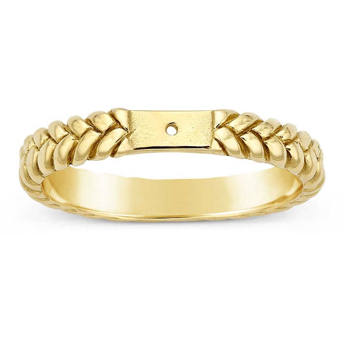 14K Yellow Gold Braided Ring Shank with Hole