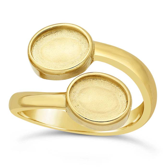 14K Yellow Gold Bypass Oval Cabochon Ring Mountings