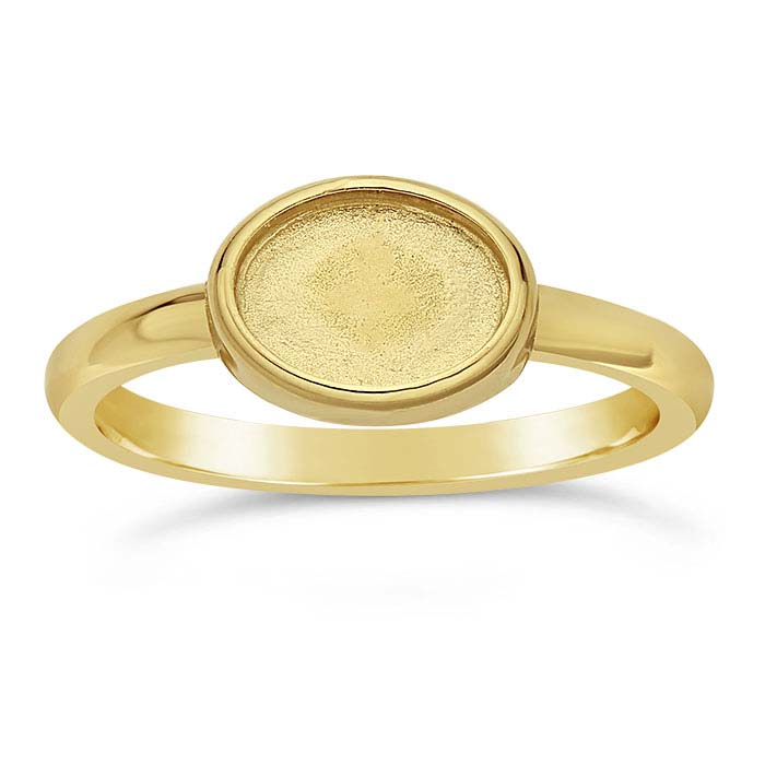14K Yellow Gold Oval Cabochon Ring Mountings