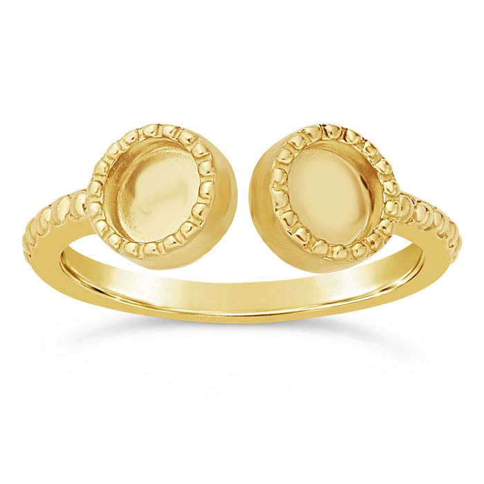 14K Yellow Gold Beaded-Edge 5mm Round Cabochon Ring Mounting