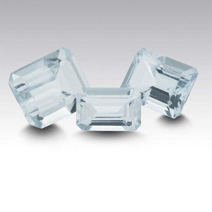 Aquamarine 7 x 5mm Octagon Faceted Stone, A-Grade