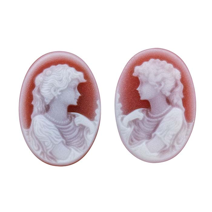 Red Agate 14 x 10mm Oval Portrait Cameo