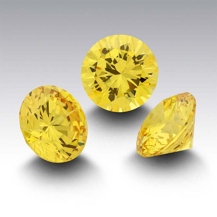 Yellow CZ Round Faceted Stones