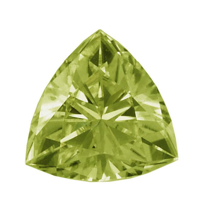 Peridot Trillion Faceted Stones, AA-Grade