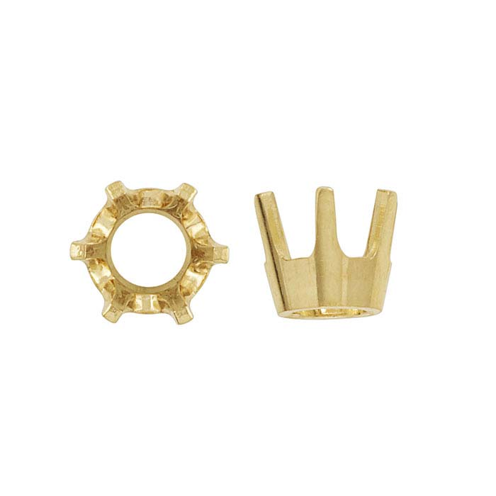 14K Yellow Gold Round Low-Base 6-Prong Settings