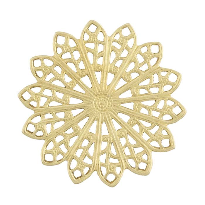 Brass Filigree Flower Component