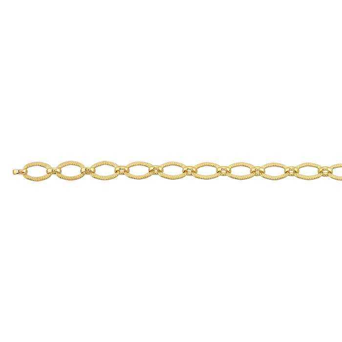 14/20 Yellow Gold-Filled 3.8mm Patterned Long & Short Chain, By the Foot