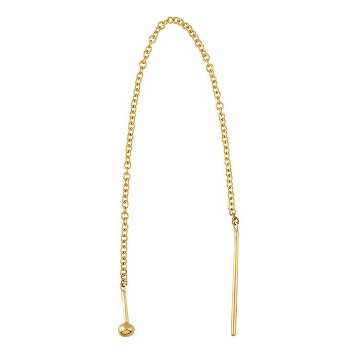 14K Yellow Gold Cable Chain Ear Thread with Ball End