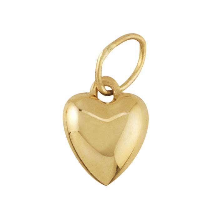 14K Yellow Gold Puffed Heart Pendants