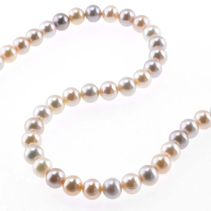 Freshwater Cultured 6–7mm Round Pearl Strand, Pink, Peach, and Lavender, A-Grade
