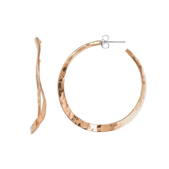 Copper Wavy Hammered Hoop Earrings