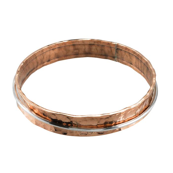 Copper Hammered Concave Bangle Bracelet with Sterling Silver Moveable Ring