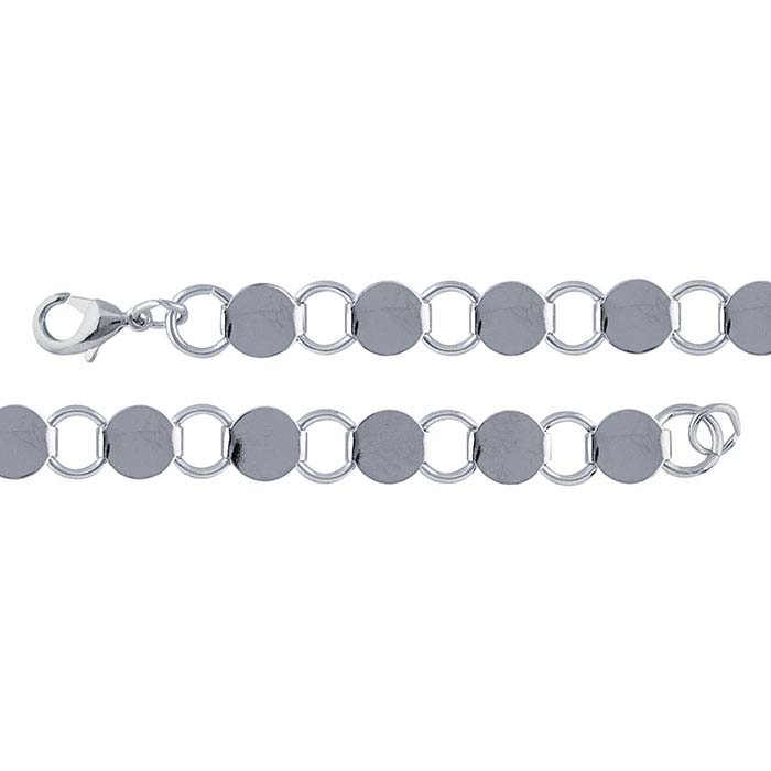 Steel Imitation Rhodium-Plated 9.6mm Round Ring and Connector Bracelet