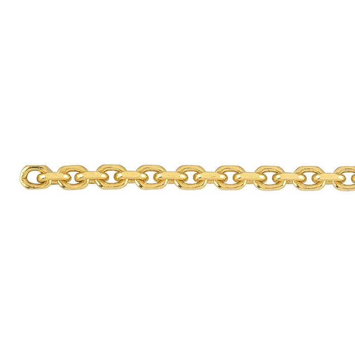 14K Yellow Gold 2.3mm Diamond-Cut Oval Cable Chain, By the Inch