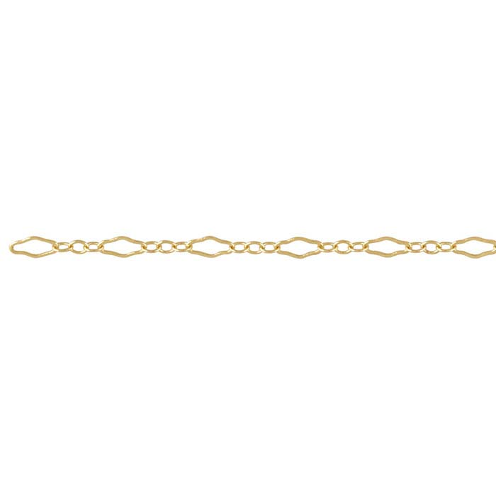 14/20 Yellow Gold-Filled 2.3mm Krinkle Long & Short Chain, By the Foot