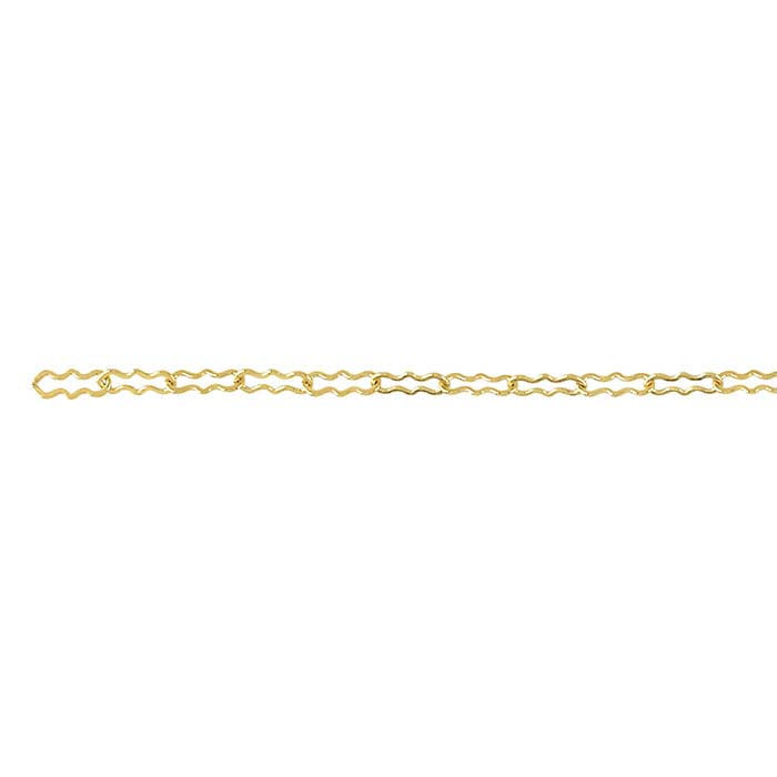 14/20 Yellow Gold-Filled 1.4mm Flat Krinkle Chain, By the Foot