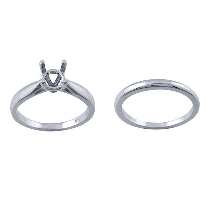 14K White Gold 1-Ct. Round Engagement Ring Mounting and Wedding Band Set