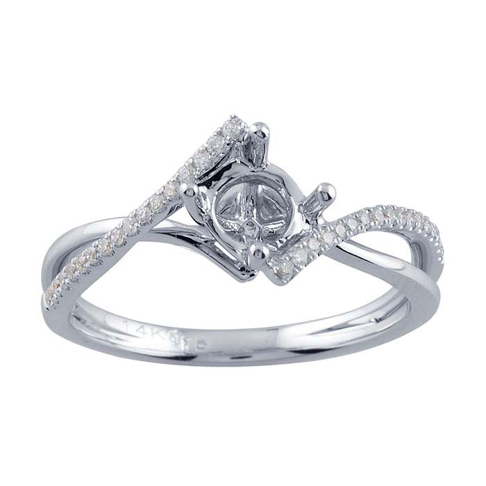14K White Gold Double-Bypass .50-Ct. Round Semi-Mount Engagement Ring Mounting