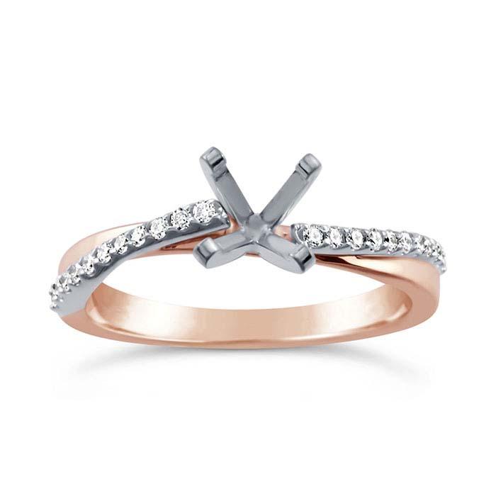 14K Rose Gold .75-Ct. Round Semi-Mount Engagement Ring Mounting