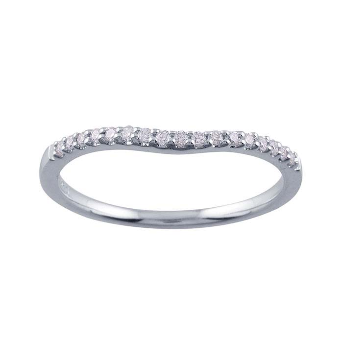 14K White Gold Diamond-Set Band
