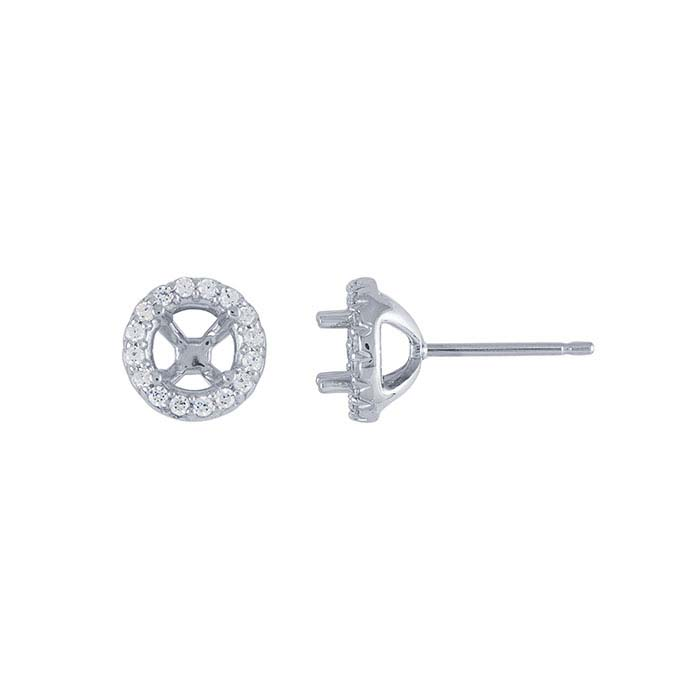 14K White Gold .50-Ct. Round Halo Post Earring Mounting