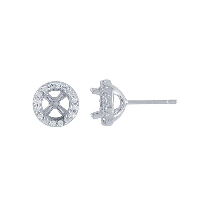 14K White Gold .75-Ct. Round Halo Post Earring Mounting