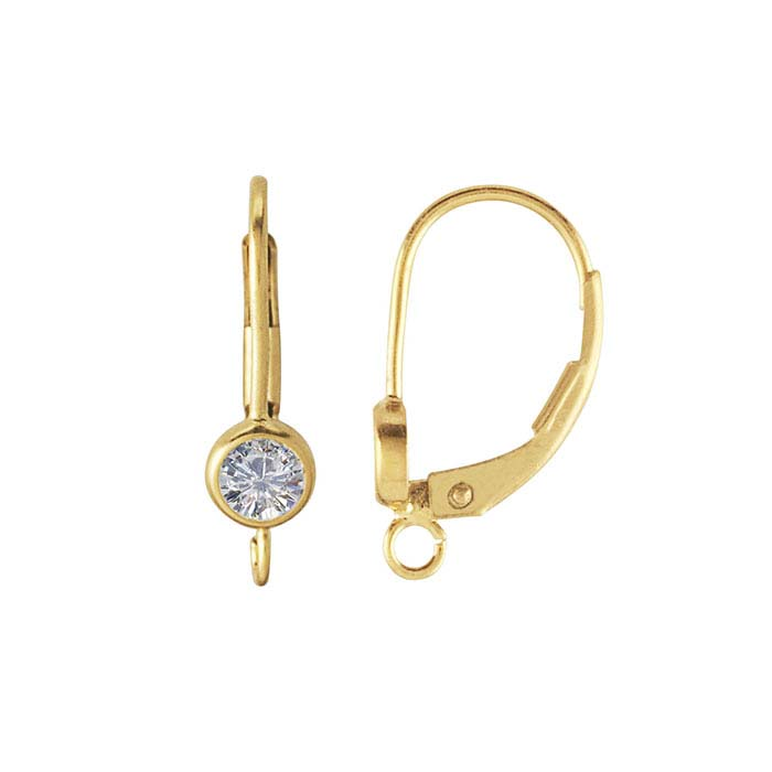 14/20 Yellow Gold-Filled CZ-Set Lever-Back Ear Wire with Open Ring