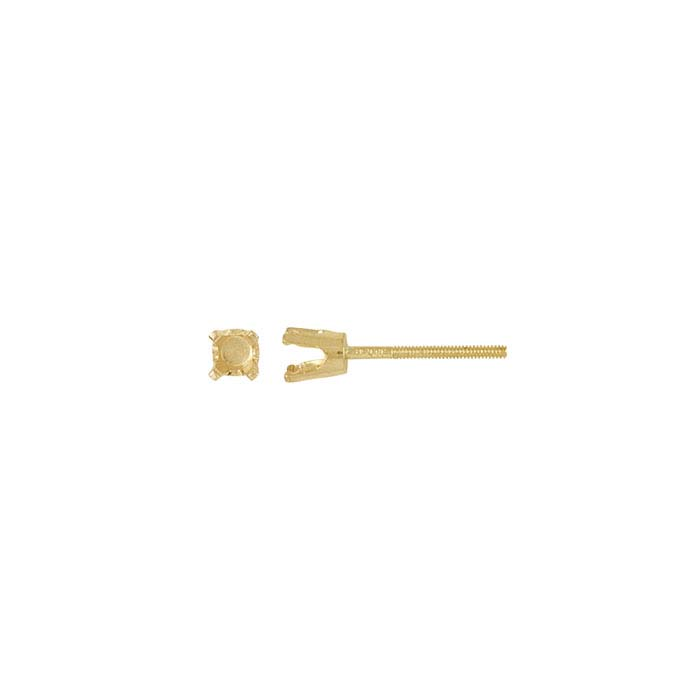 14K Yellow Gold Round Pre-Notched Threaded Post Earring Mountings