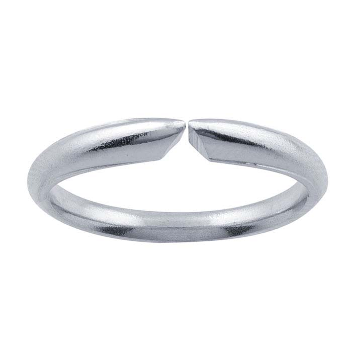 14K White Gold Half-Round Comfort Fit Ring Shanks