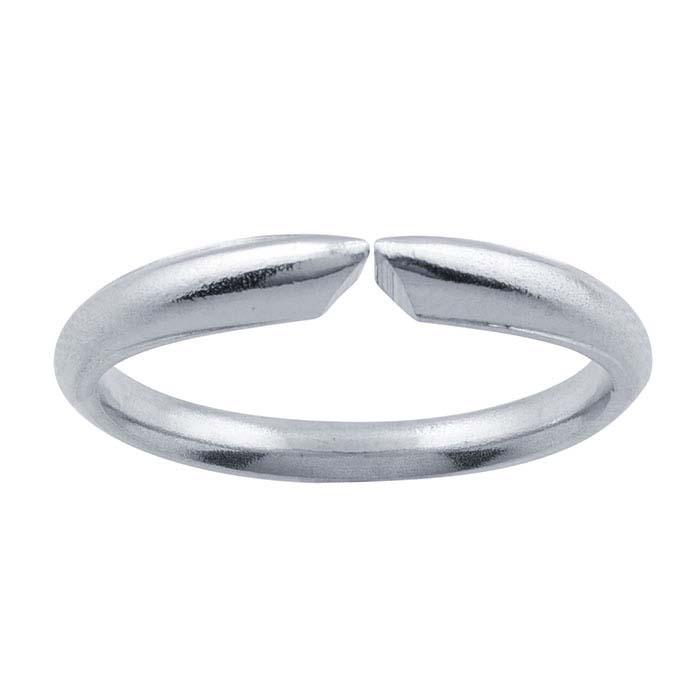 14K White Gold Half-Round Comfort Fit Ring Shanks