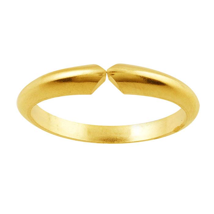 14K Yellow Gold Heavyweight Half-Round Pinched Ring Shank, 4-Prong