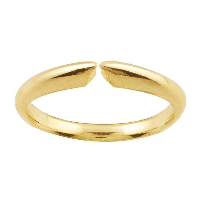 14K Yellow Gold Pinched Half-Round Comfort Fit Ring Shank, 4-Prong