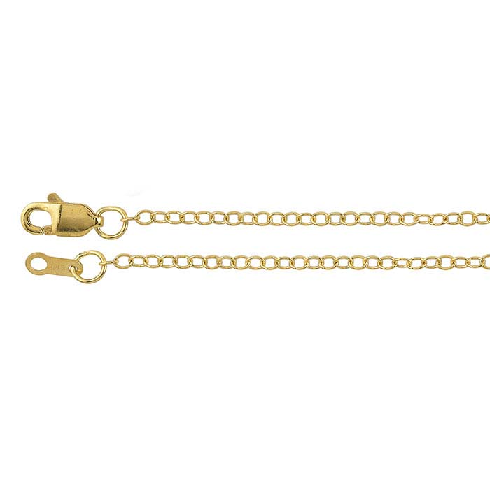 18K Yellow Gold 1.5mm Oval Cable Chains