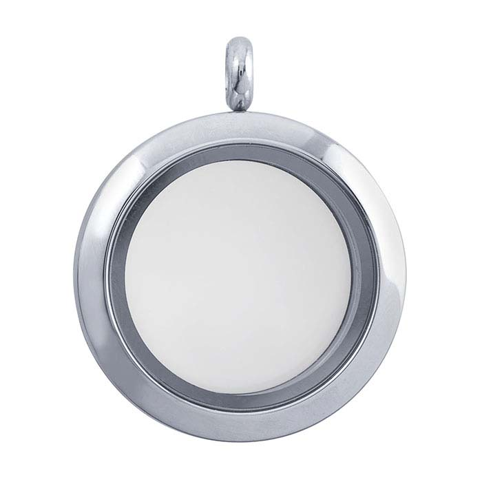 Stainless Steel Round Floating Glass Locket Pendant