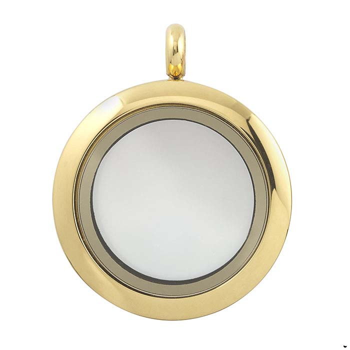 Stainless Steel Yellow-Finish Round Floating Glass Locket Pendant