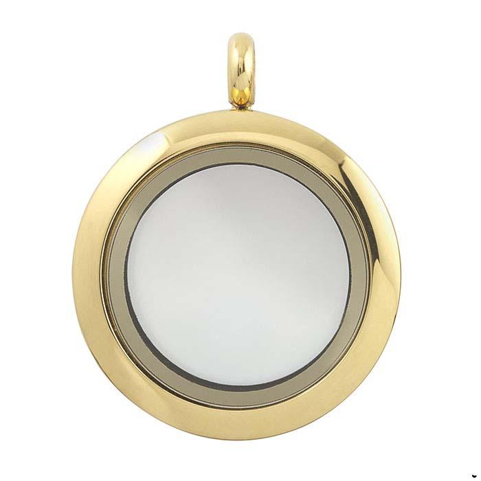 Stainless Steel Yellow-Finish Round Floating Glass Locket Pendant
