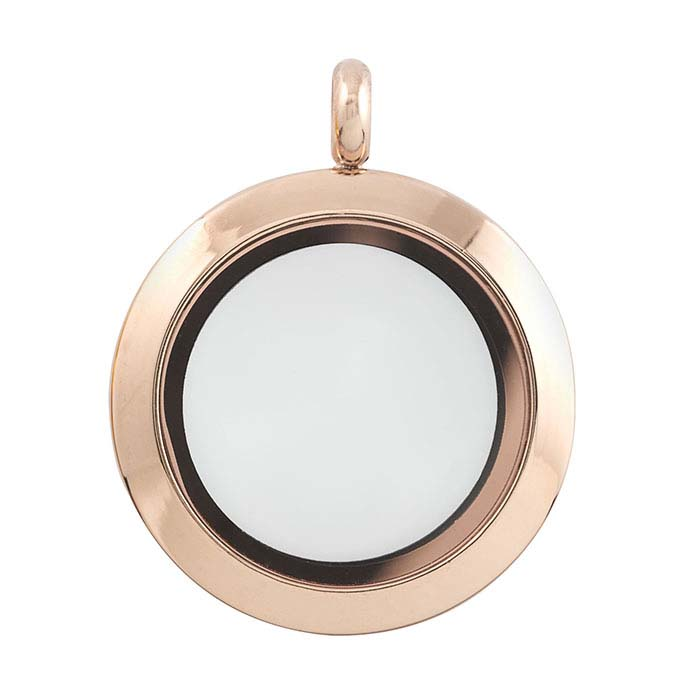 Stainless Steel Rose-Finish Round Floating Glass Locket Pendants